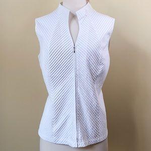Dress Barn Pintuck Zip Up Sleeveless White Blouse